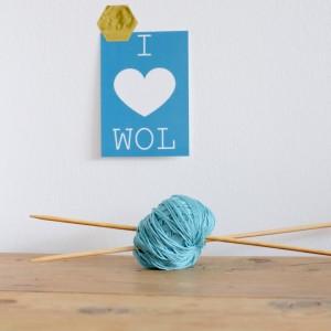 "Ansichtkaart ""I love wol"""