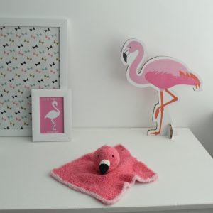 Haakpatroon Pinky het flamingo knuffeldoekje
